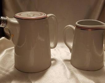 Vintage Royal Doulton England Steelite Hotel Restaurant Ware Coffee and Creamer Milk Pitcher Beige with Pink Gold Trim