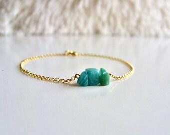 Raw Amazonite Bracelet / Green Gemstone Bracelet / 14K gold vermeil / Dainty bracelet / Delicate Gold bracelet / Gift for Her / Raw Gemstone