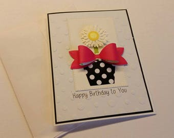 Birthday card. Handmade Card. Card for Her.  Card for Mother.  Card for Grandmother. Card with Flowers