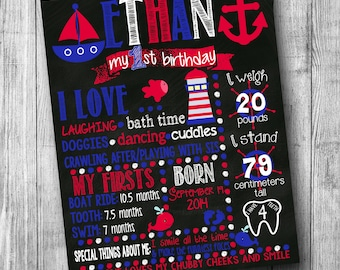 Nautical First Birthday Chalkboard Sign Nautical Birthday Chalkboard Boy Birthday Chalkboard 1st Birthday Boy Red Blue Whale Birthday Girl
