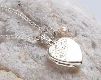 Small Silver Heart Locket with Pearl