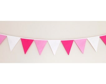 Pink ombre Girls Fabric Bunting Banner Flags