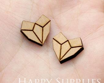 4pcs (SWC195) DIY Laser Cut Wooden Diamond Heart Charms