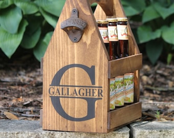 BEER Tote with removable ICE PACK Rustic Wood Beer Carrier Beer Caddy Personalized Bottle Opener
