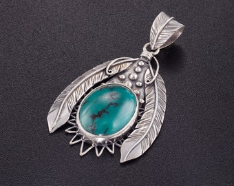 Silver Turquoise Pendant. Feathers Pendant. Feather Jewelry. Boho Turquoise Necklace. Tribal Jewelry. Shaman Jewelry