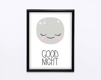 Moon print, Instant download, Typo print, Good night, Home decor, Printable wall decor, Vector Pdf, JPEG, Digital art, Kids room decor