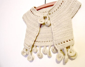 Instant download Crochet pattern PDF -Dancing poppies Baby Bolero - sizes 3/6 months to 2/3 year-old