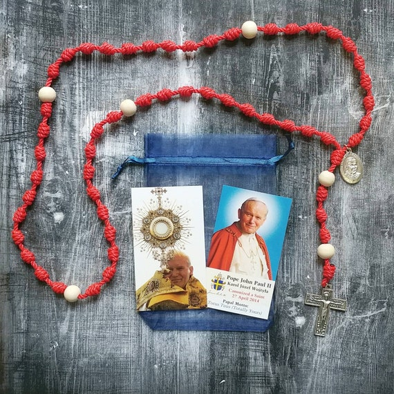 St. Pope John Paul II Twine Knotted Rosary with renaissance crucifix,medal, and prayer card- Confirmation, First Holy Communion, RCIA
