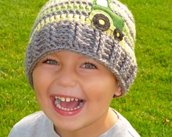 Crochet Tractor Hat, Crochet Hat, Baby Boy, Photo Prop, Handmade - Sizes 12 MONTHS AND UP - more color options