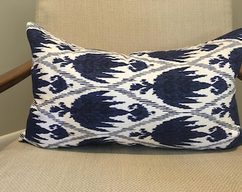 Blue and White Ikat Pillow Cover / Casablanca Designer Fabric