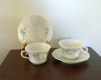 Antique Weimar Porcelain Cups and Saucers - Circa 1900 - Made In Germany