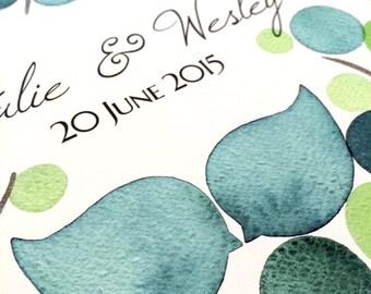 Watercolor Guest Book Tree Alternative Print - bridal shower guestbook Custom watercolor registry - FRESH PEACAN TREE