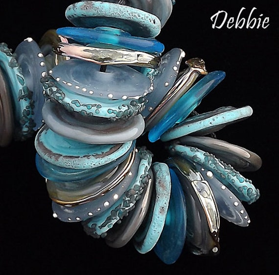 Rustic Beads Lampwork Beads Organic Beads Glass Beads For Necklace Beaded Disc Bracelet Blue Beads Jewelry Supplies Debbie Sanders