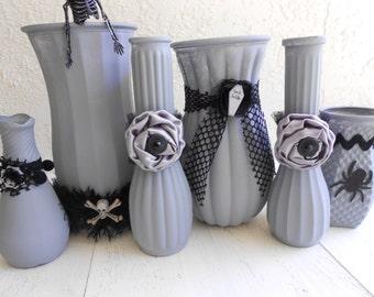 Halloween Vases, Gothic Decor, Goth Decor, Skeleton, Skull, Halloween Decor, Grey Vases, Glass Vases, Painted Vases