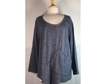 Angle Point Top - Storm Blue Hemp Cotton Large Ready to Ship by Blue Fish Red Moon Clothing