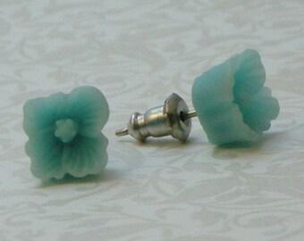 Square Flower Earrings - Light Aqua Blue