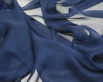 "Chiffon Sheer Fabric 60"" - By The Yard-  Bridal, Formal Wear, Home Decor - NAVY"