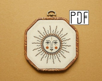 PDF pattern - Ornament Sun Hand Embroidery Pattern (PDF modern hand embroidery pattern)