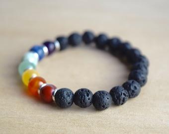 7 Chakras Bracelet / 7 chakras yoga, balance bracelet, energy stone jewelry, chakra lava bracelet, group 5, group 7, group 8, group 10