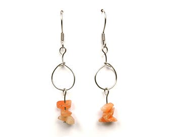 Boho fashion jewelry, gemstone silver earrings, sunstone jewelry fashion boho earring silver gemstone jewerly handmade sunstone earring