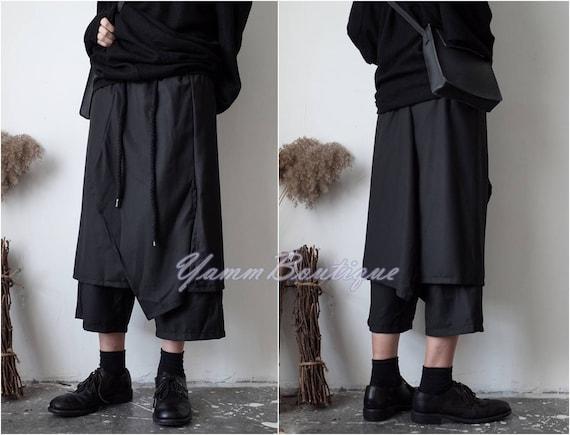 Black Avant Garde Loose Wide Leg Skirt Layer Pants Short / Elasticated High Waistband Sarrouel Japanese Cotton Trouser Yoga Pant / Unisex bEJ9ZktxFg