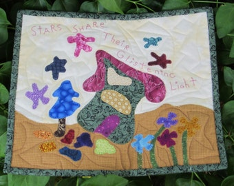 """Small Art Quilt """"Glistening"""" Little Quilted  Original Design Pattern From Three Patches of Thyme"""