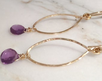 Earrings Amethyst 14k gold fill elliptical Birthstone February Valentine dangle long purple plum genuine gemstone everyday minimal