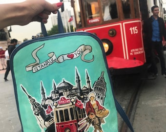 Hand-painted Backpack, Leather Backpack