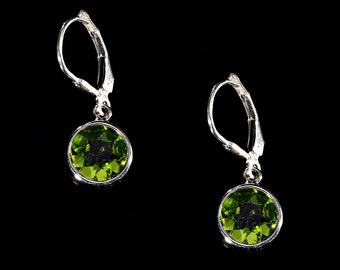 Faceted Peridot Round and Sterling Silver Drop Earrings, Peridot Earrings, Peridot Jewelry, Gift for her, August Birthstone, Dainty Earrings