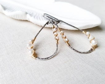 Mixed Metal Pearl Artisan Hammered Hoops 14k Gold Fill Wrapped Freshwater Pearls on Oxidized Sterling Silver Teardrop Hoops Rustic