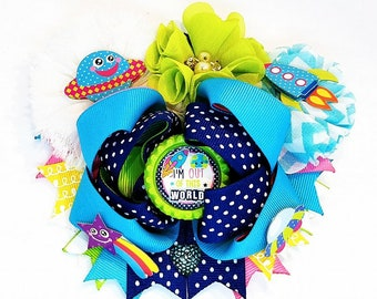 I'm Out Of This World Jumbo OTT Hair Bow Headband Outer Space Rocket Chevron Flower Planets Polka Dot