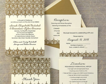 Elite Letterpress Wedding Invitation Set - intricate letter press swirls, ornate, color choices - AV1887