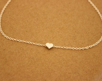 Tiny heart Anklet, Delicate anklet, dainry anklet, thin gold anklet, ankle bracelet, dainty anklet, bridesmaid gift, summer, beach