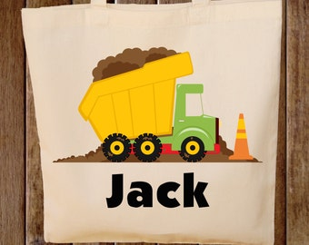 Dump truck Tote Bag  -- Boys Tote Bag -- Kids Tote Bag  -- Construction Bag