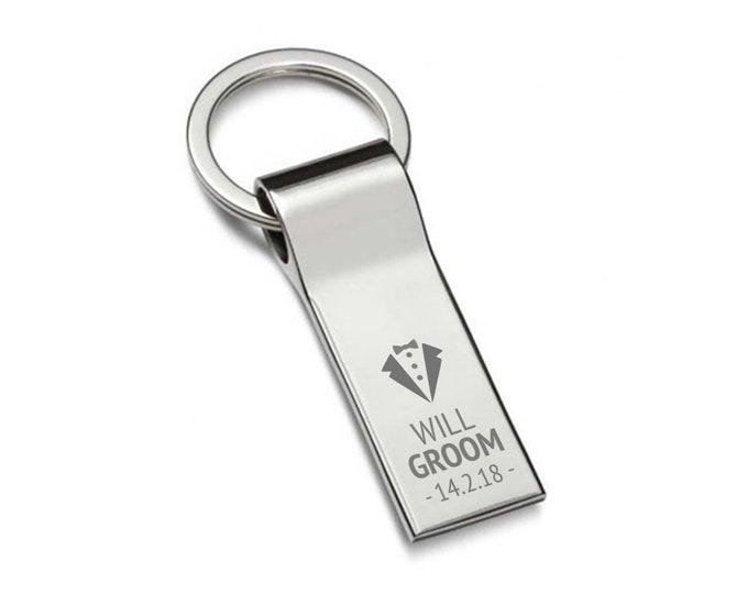 Engraved GROOM keyring wedding gift, personalised chromed metal keychain, tuxedo - 7537-TUX11