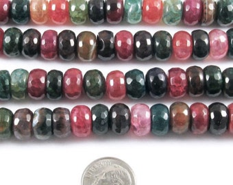 """15"""" Faceted Rondelle Beads-Multi Color DRAGON VEIN AGATE 6x10mm (60)"""