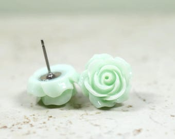 Celery Green Rose Earrings, Soft Mint Green Flowers, Stainless Steel Posts, Botanical Jewelry
