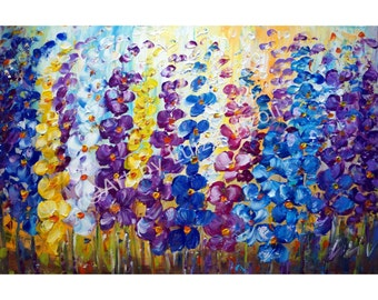 Flowers Oil Painting Modern Art Decor Floral BLUE Purple GARDEN 36x24 Canvas by Luiza Vizoli