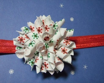Red and Green Sparkle Snowflake Large Korker Hairbow with Interchangeable Skinny Headband