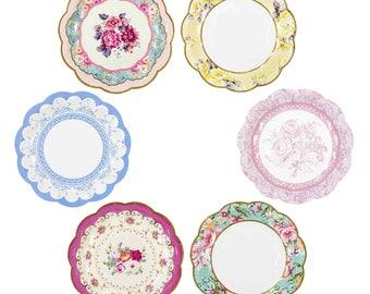 Paper Plates Vintage Floral Tea Party 12pk