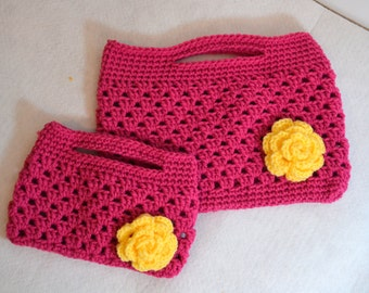 Mommy and Me Crochet Purse Set, Granny Crochet Clutch, Childs Pink Purse, Ladies Crochet Yellow Rose Bag
