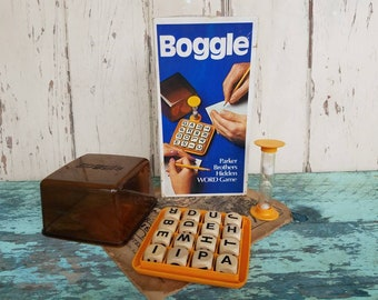 Retro Boggle Spelling Game - Vintage Dice Game By Parker Brothers, Cube Spelling Game, Learning Tool, Family Game Night, Housewarming Gift