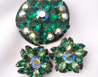 Vintage Emerald Olivine Rhinestone Brooch Earrings Set Dimensional Pin 1950s Retro Jewelry