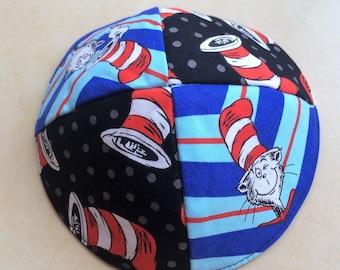 Dr. seuss Cat in the hat kippah yarmulke,toddler,kids,preschool kippah,lined kids kippah,kids kippot,a fun and cute kippah!