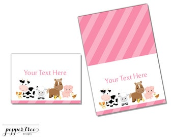 Pink Table Label Cards - Farm Animals Barnyard - Instant Download Printable Party Decor  #FARM013