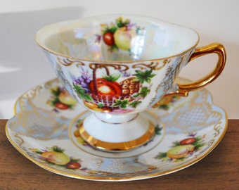 Vintage Iridescent Shafford Japan Light Blue Panelled Teacup & Saucer - Gilt filligree and Harvest Fruit, Gold Handle, Footed dainty base