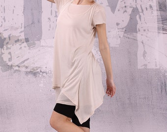Asymmetrical beige tunic top set of TWO pieces, loose tunic, tank top - 032