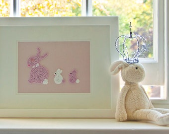 Pink Nursery, Bunny Nursery, Pink Crochet Bunny Picture, Nursery Wall Art, Nursery Decor, Christening Gift, New Baby Girl Gift, Cute Artwork