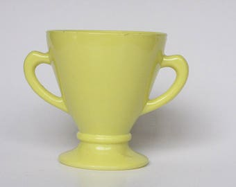 Mid Century Modern Hazel Atlas Ovide Chartreuses milk glass sugar bowl