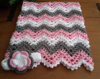 baby girl, chevron, ripple, baby, crochet blanket, afghan crochet, crocheted blanket, crocheted afghan, pink, gray white grey FAST SHIPPING
